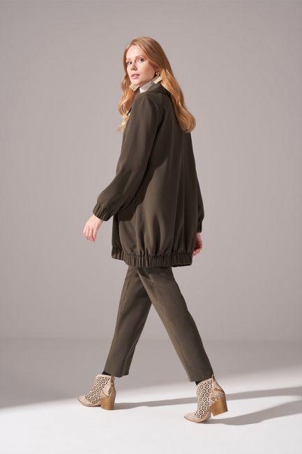 Fermuarlı Krep Ceket (Haki) - Thumbnail