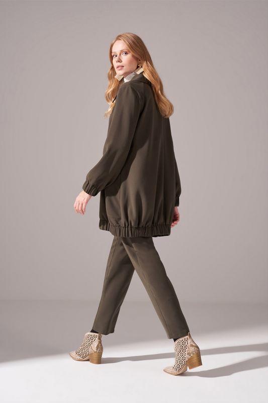 Fermuarlı Krep Ceket (Haki)