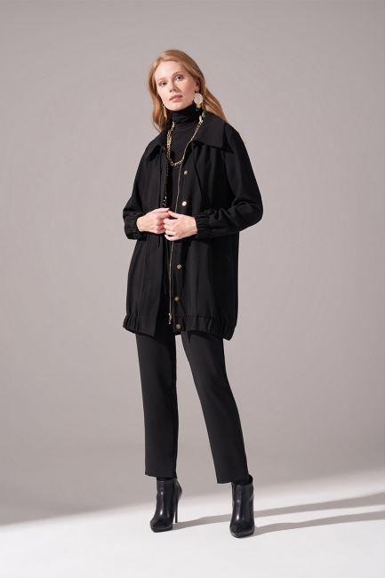 Mizalle - Fermuarlı Krep Ceket (Siyah)