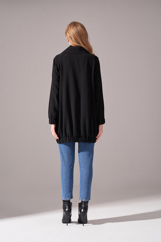 Fermuarlı Krep Ceket (Siyah)
