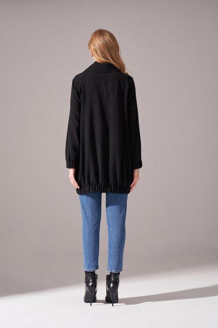 Fermuarlı Krep Ceket (Siyah) - Thumbnail