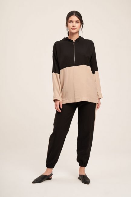 Mizalle - Fermuarlı Parçalı Sweatshirt (Bej)