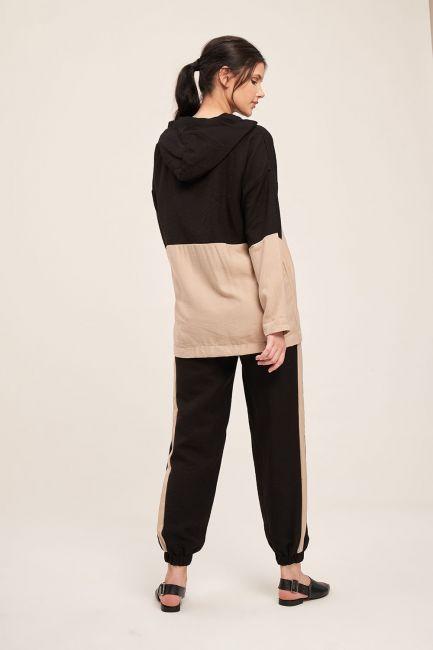 Fermuarlı Parçalı Sweatshirt (Bej) - Thumbnail