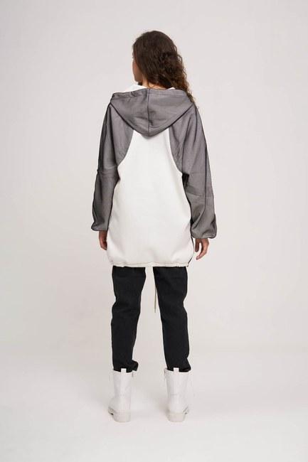 File Detaylı Sweatshirt (Beyaz) - Thumbnail