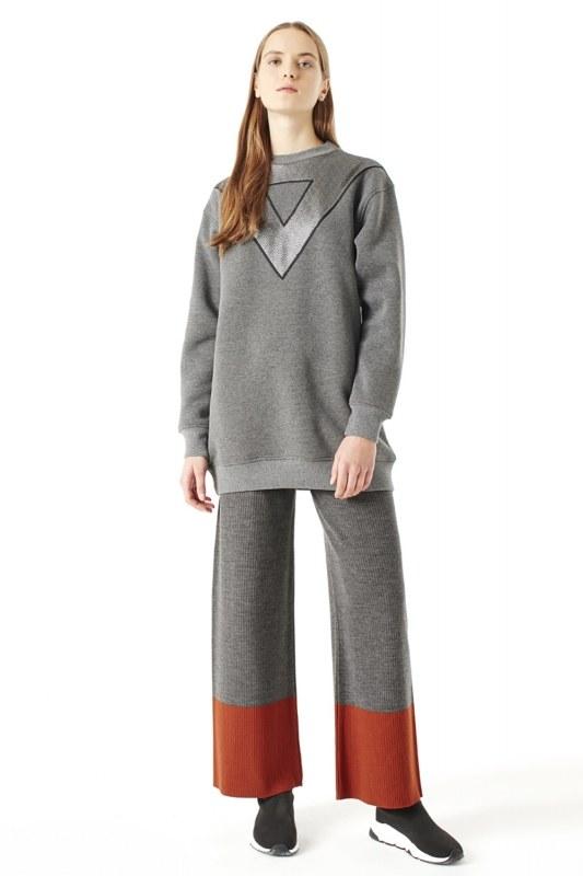 File Detaylı Sweatshirt (Gri)