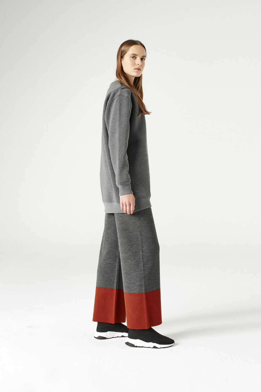 MIZALLE File Detaylı Sweatshirt (Gri) (1)