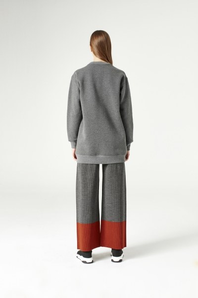 File Detaylı Sweatshirt (Gri) - Thumbnail