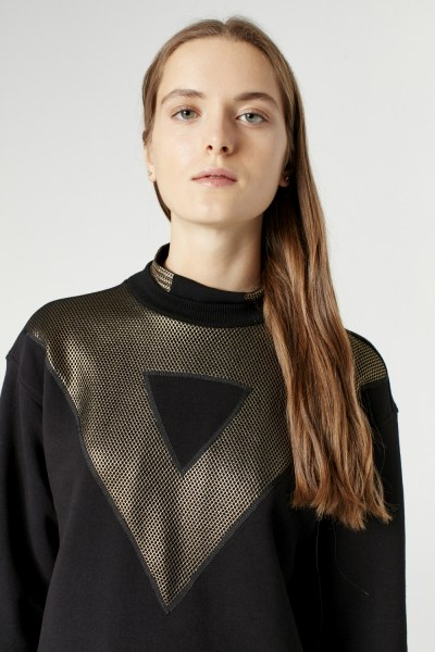 Net Detailed Sweatshirt (Black) - Thumbnail