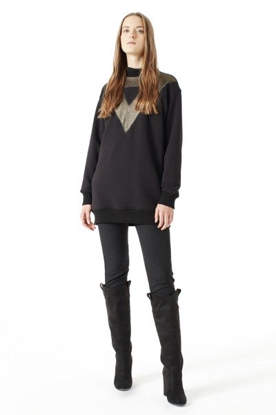 MIZALLE File Detaylı Sweatshirt (Siyah)