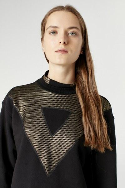 File Detaylı Sweatshirt (Siyah) - Thumbnail