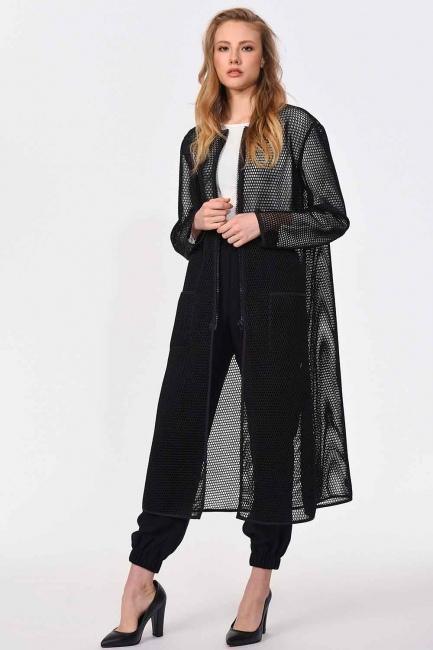 Mizalle - File Fermuarlı Ceket (Siyah)
