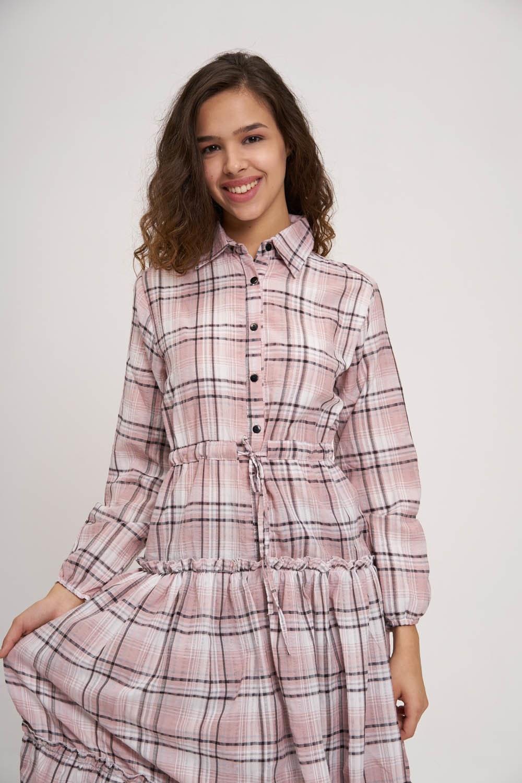 Fırfır Detaylı Ekose Elbise (Pembe)