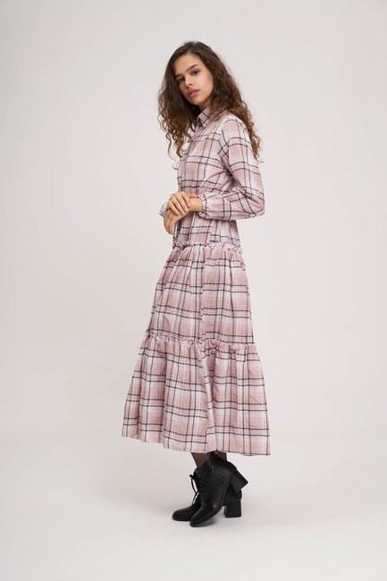 Mizalle - Fırfır Detaylı Ekose Elbise (Pembe)