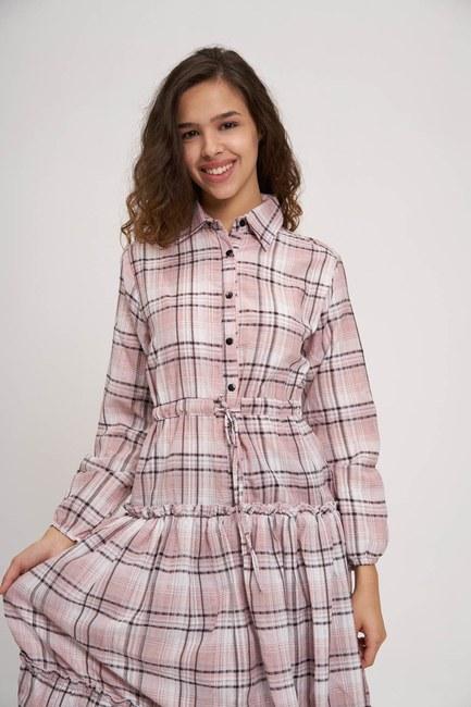 MIZALLE YOUTH - Fırfır Detaylı Ekose Elbise (Pembe) (1)
