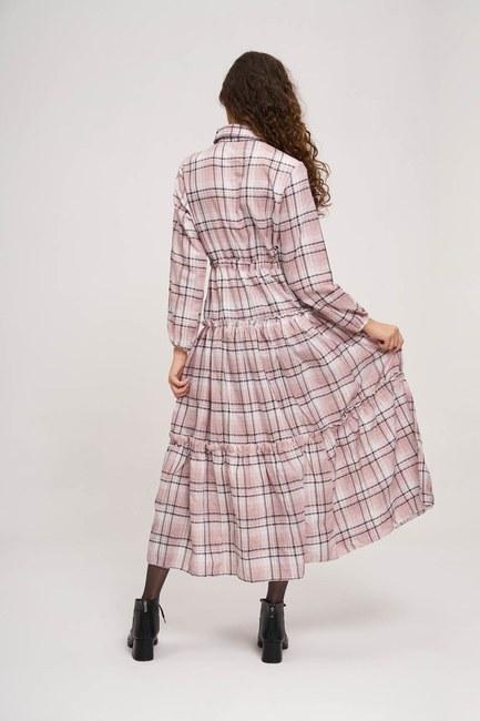 Fırfır Detaylı Ekose Elbise (Pembe) - Thumbnail