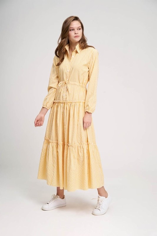 Fırfır Detaylı Ekose Elbise (Sarı)
