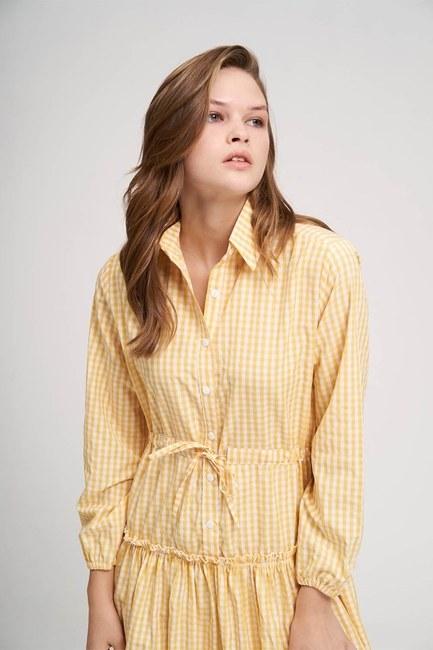 Fırfır Detaylı Ekose Elbise (Sarı) - Thumbnail
