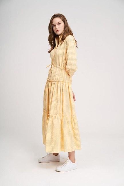 Ruffle Detail Plaid Dress (Yellow) - Thumbnail