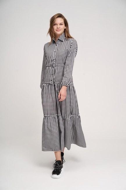 Mizalle - Fırfır Detaylı Ekose Elbise (Siyah/Beyaz)