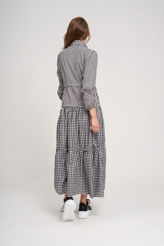Fırfır Detaylı Ekose Elbise (Siyah/Beyaz)
