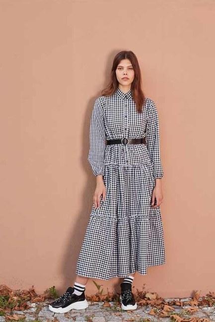 Fırfır Detaylı Ekose Elbise (Siyah/Beyaz) - Thumbnail