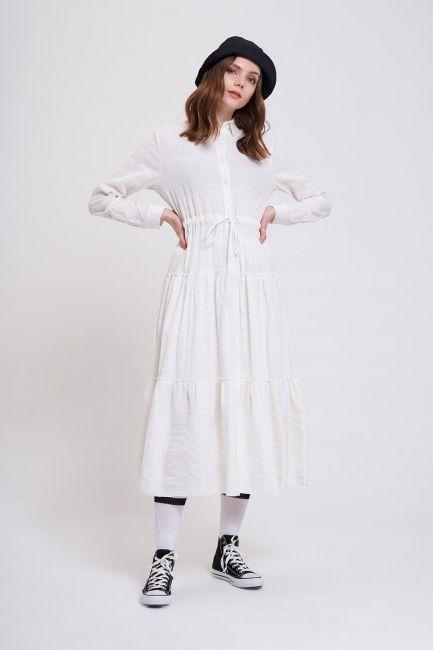 Mizalle - Fırfır Detaylı Renkli Elbise (Ekru)