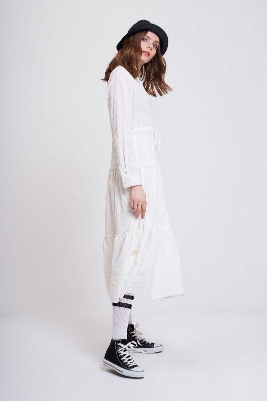 Fırfır Detaylı Renkli Elbise (Ekru)