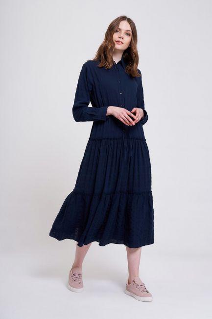 Mizalle - Fırfır Detaylı Renkli Elbise (Lacivert)