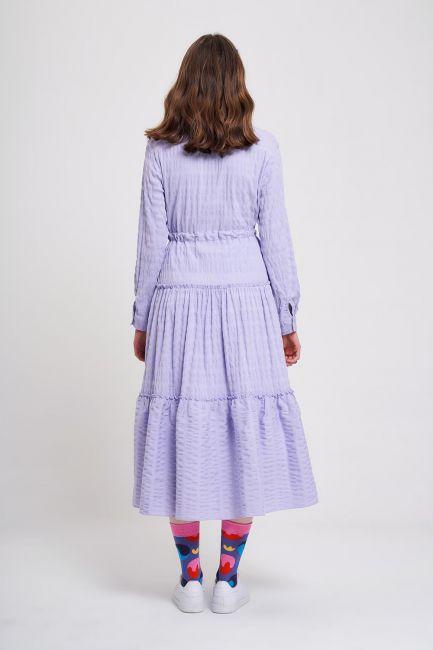 Fırfır Detaylı Renkli Elbise (Lila) - Thumbnail