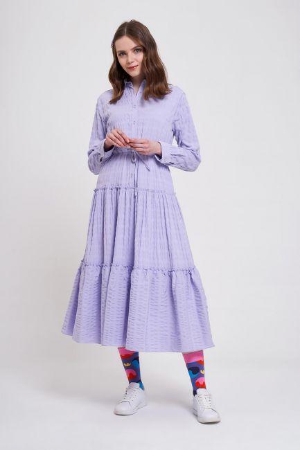 Fırfır Detaylı Renkli Elbise (Lila)