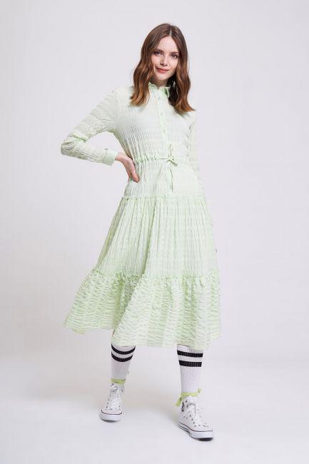 Mizalle - Fırfır Detaylı Renkli Elbise (Yeşil)