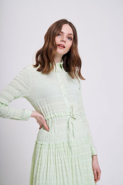 Fırfır Detaylı Renkli Elbise (Yeşil) - Thumbnail