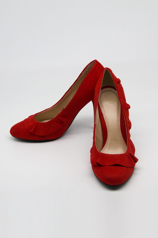 Fırfır Detaylı Topuklu Ayakkabı (Kırmızı)