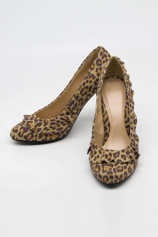 Fırfır Detaylı Topuklu Ayakkabı (Leopar)