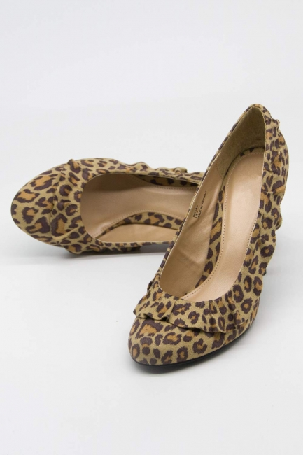 Fırfır Detaylı Topuklu Ayakkabı (Leopar) - Thumbnail