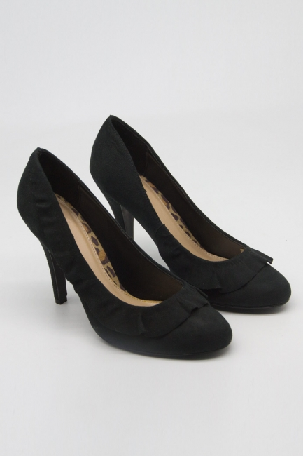 Mizalle - Fırfır Detaylı Topuklu Ayakkabı (Siyah)