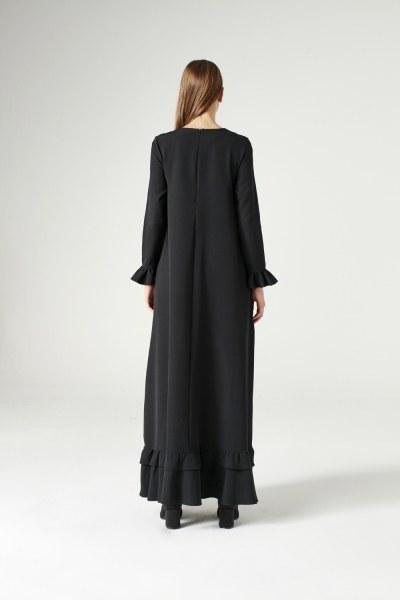 Fırfırlı Elbise (Siyah) - Thumbnail