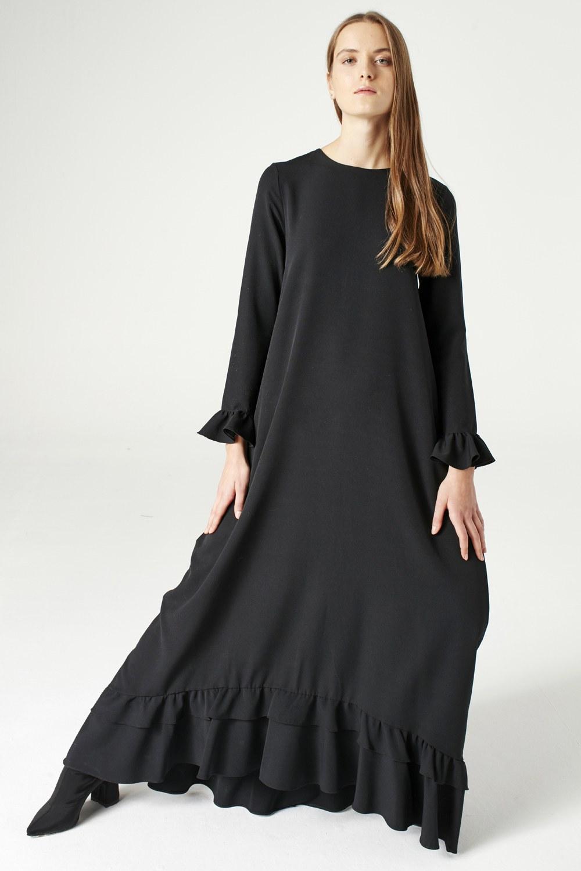 MIZALLE Fırfırlı Elbise (Siyah) (1)