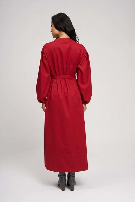 Fırfırlı Kuşaklı Elbise (Kırmızı) - Thumbnail