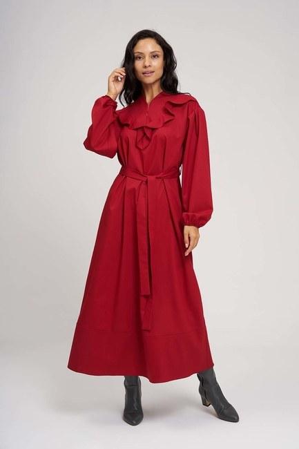 فستان ذات حزام له كسرات (احمر) - Thumbnail