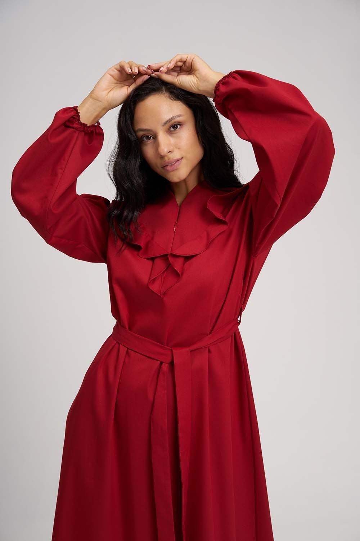 MIZALLE Fırfırlı Kuşaklı Elbise (Kırmızı) (1)