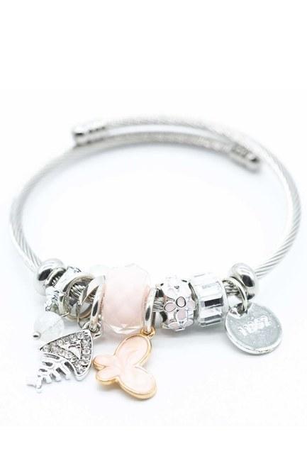 MIZALLE Fish Detailed Bracelet (Pink)