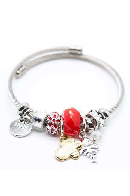 MIZALLE Fish Detailed Bracelet (Red)