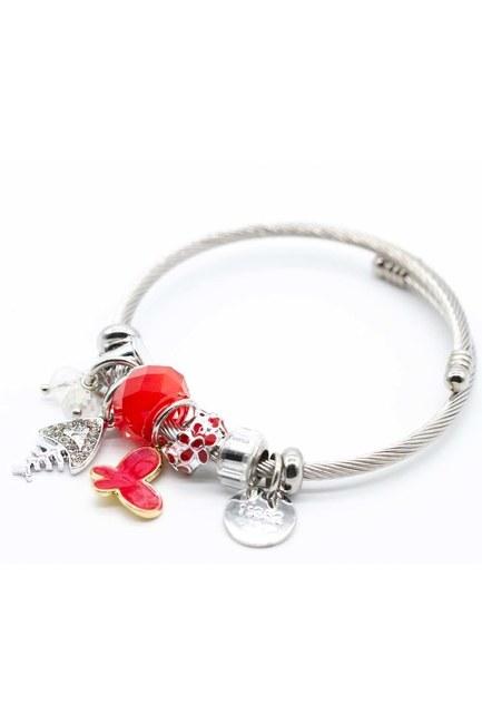 Fish Detailed Bracelet (Red) - Thumbnail