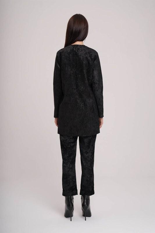 Fitilli Kadife Ceket (Siyah)