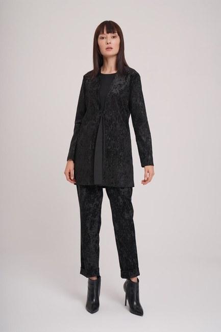 Mizalle - Fitilli Kadife Ceket (Siyah)
