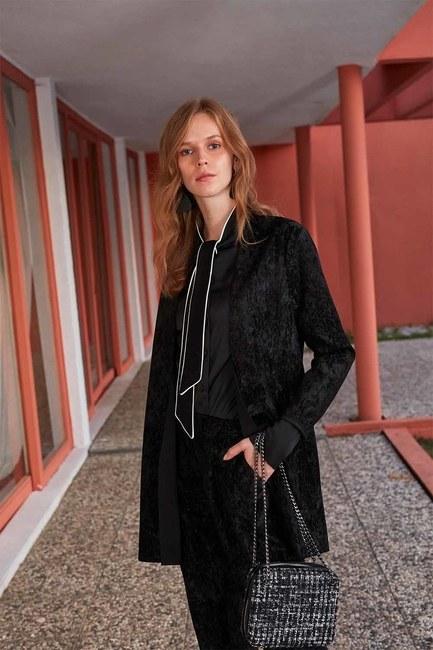 Fitilli Kadife Ceket (Siyah) - Thumbnail