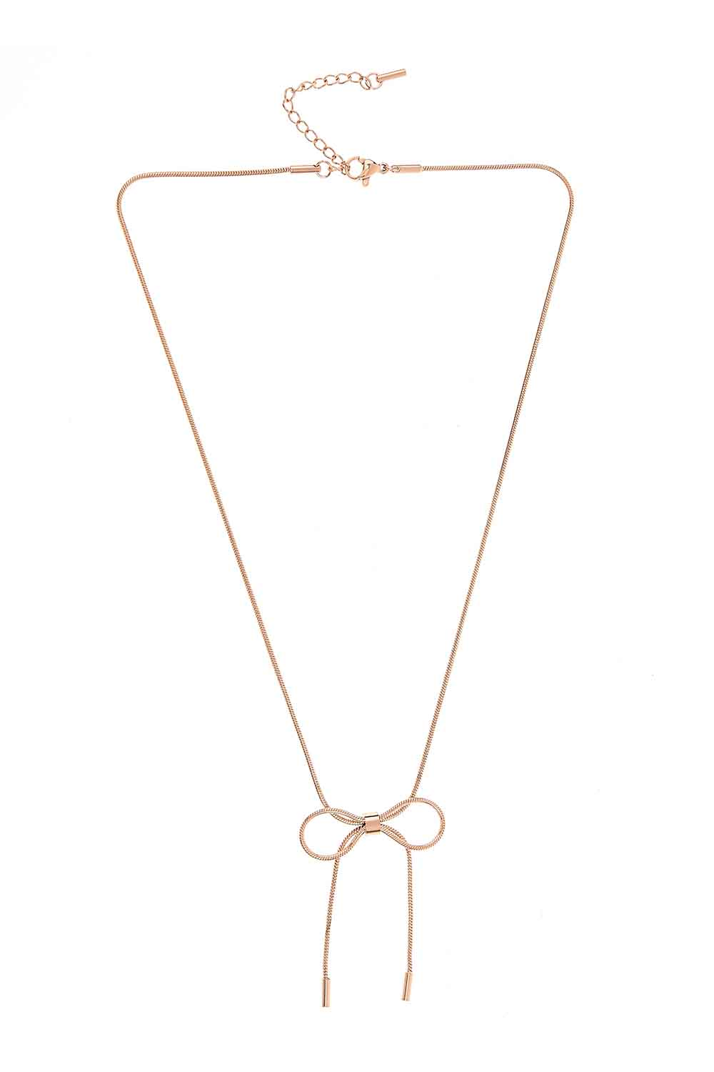 MIZALLE Bow Steel Necklace (St) (1)