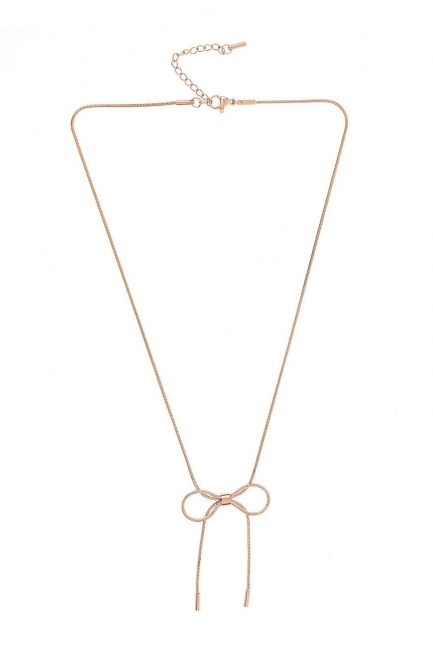 MIZALLE - Bow Steel Necklace (St) (1)