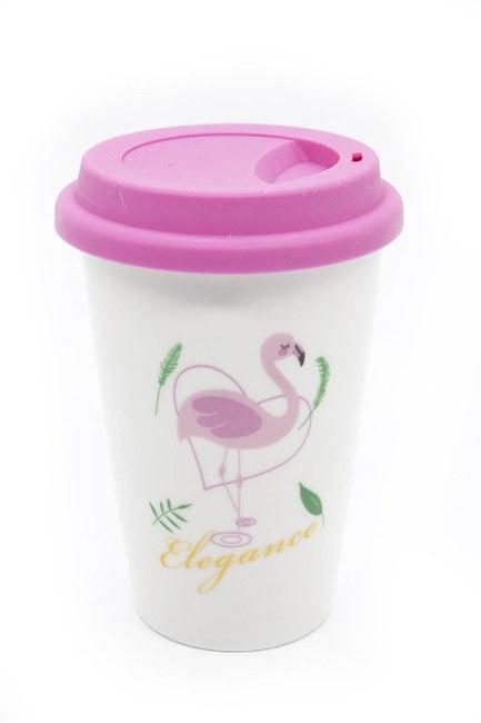 Flamingo Porselen Kupa (Pembe) - Thumbnail